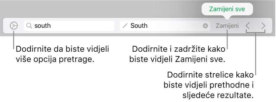 Kontrole za nalaženje i zamjenu teksta.