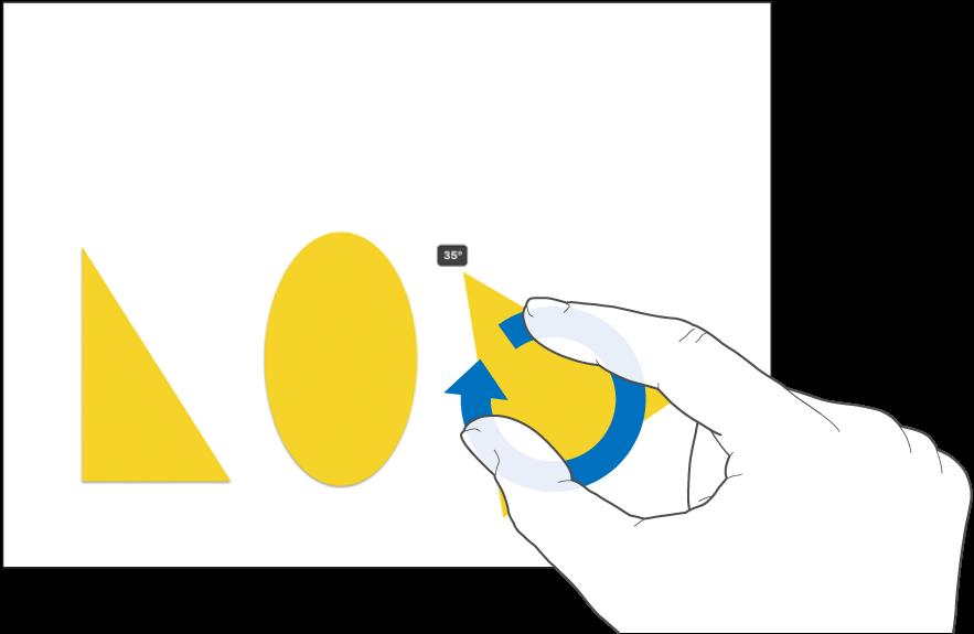 Rotiranje objekta s pomoću dva prsta.