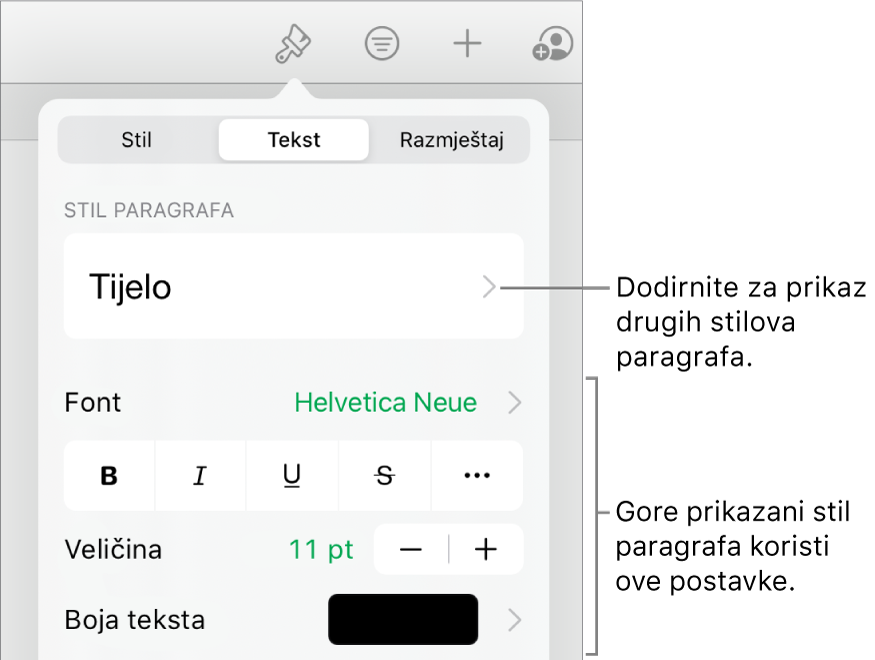 Izbornik Formatiraj s prikazom kontrola teksta za postavljanje paragrafa i stilova paragrafa, fonta, veličine i boje.