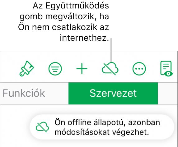 """A képernyő tetején látható gombok, ahol az Együttműködés gomb egy áthúzott felhőre módosul. Figyelmeztetés a képernyőn: """"Offline módban van, de folytathatja a szerkesztést""""."""