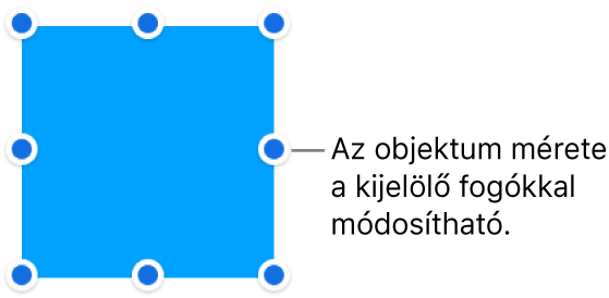 Egy objektum és a szegélyén lévő kék pontok, amelyekkel az objektum mérete módosítható.