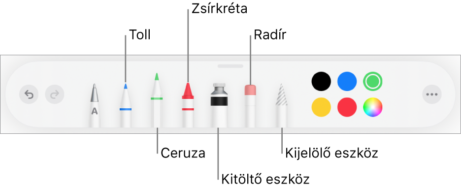 A rajz eszközsor tollal, ceruzával, zsírkrétával, kitöltőeszközzel, radírral, kijelölés eszközzel és a színekkel. A jobb szélen a Továbbiak menü gombja látható