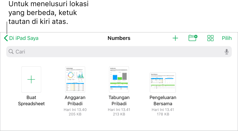 Tampilan telusur pengelola spreadsheet dengan tautan lokasi di pojok kiri atas dan di bawahnya terdapat bidang Cari. Pada baris di bawah Cari, terdapat tombol untuk menambahkan folder, tombol untuk mengurutkan menurut nama, tanggal, ukuran, atau label; dan tombol untuk beralih antara tampilan ikon dan daftar. Di bawahnya terdapat tombol Buat Spreadsheet di samping gambar mini spreadsheet yang ada. Di bagian bawah layar, terdapat tombol Terbaru dan tombol Telusuri.
