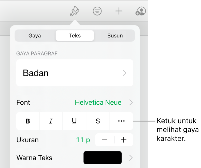 Kontrol Format dengan gaya paragraf di bagian atas, lalu kontrol Font. Di bawah Font terdapat tombol Tebal, Garis Bawah, Coret, dan Pilihan Teks Lainnya.