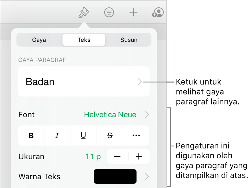 Menu Format menampilkan kontrol teks untuk mengatur paragraf dan gaya karakter, font, ukuran, dan warna.