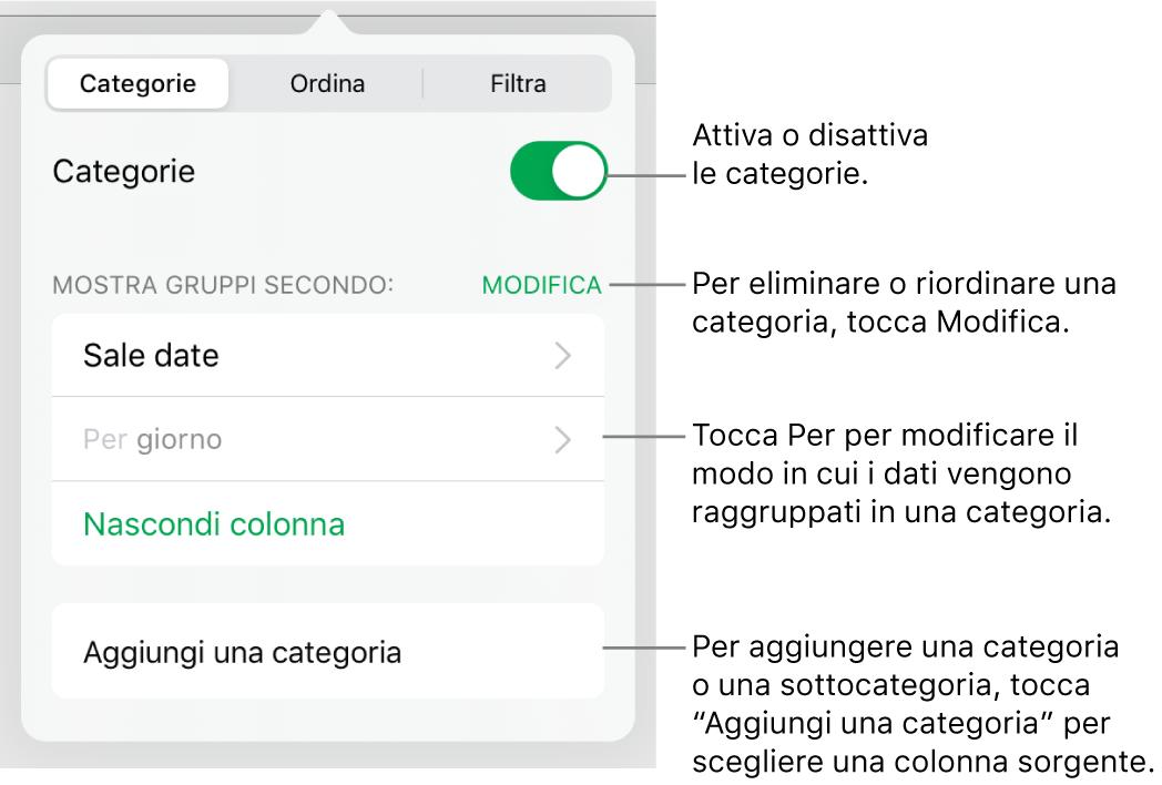 Il menu delle categorie in iPad con opzioni per disattivare le categorie, eliminare le categorie, raggruppare i dati, nascondere una colonna sorgente e aggiungere le categorie.