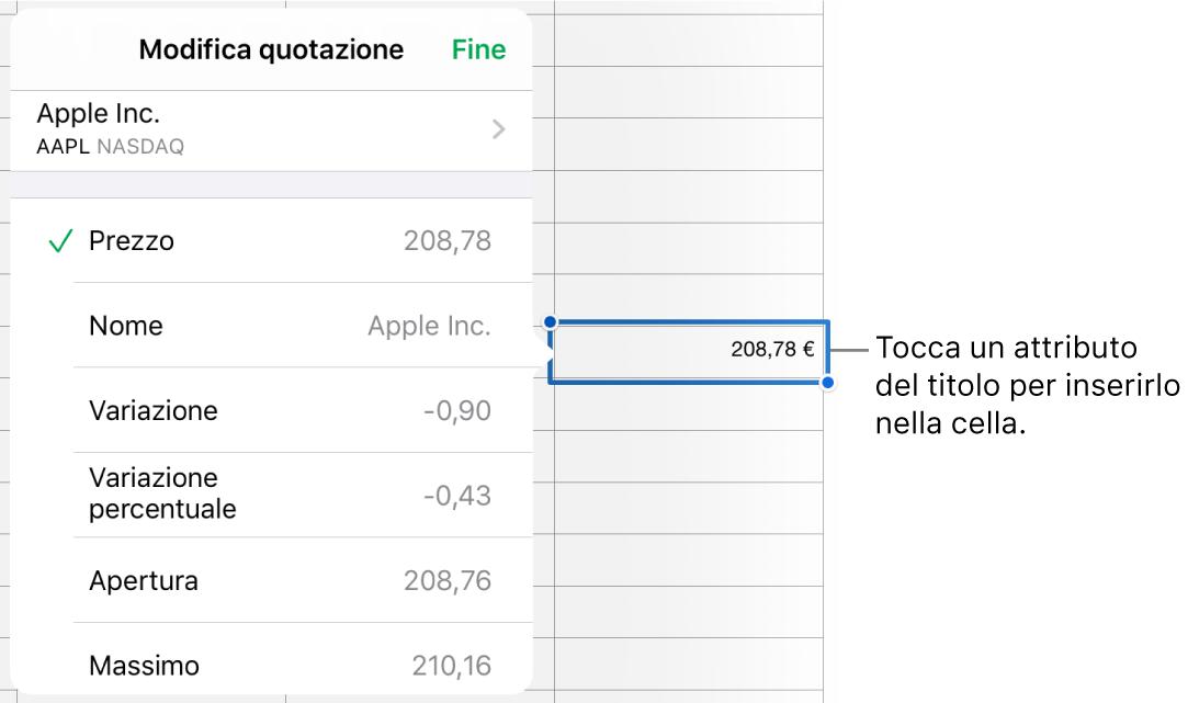 La finestra a comparsa della quotazione azionaria con il nome dell'azione in alto e, sotto, l'elenco degli attributi selezionabili tra cui prezzo, nome, variazione, variazione percentuale, apertura e massimo.