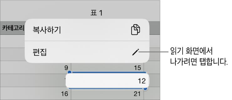 표 셀이 선택되어 있고 그 위에 복사하기 및 편집 버튼이 있는 메뉴가 있음.