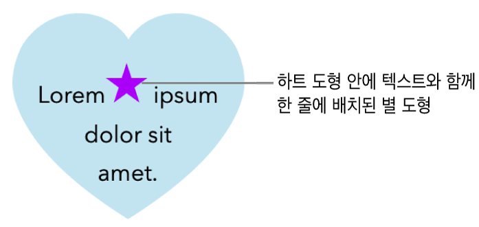 별 도형이 하트 도형 내의 텍스트와 함께 인라인으로 표시됨.