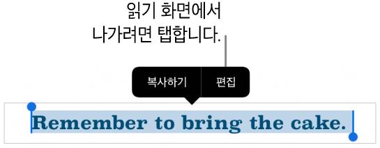 문장이 선택되어 있고 그 위에 복사하기 및 편집 버튼이 있는 빠른 메뉴가 있음.