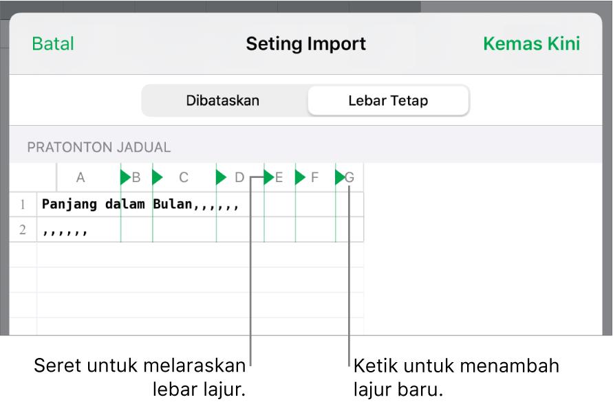 Seting import untuk fail teks lebar tetap.