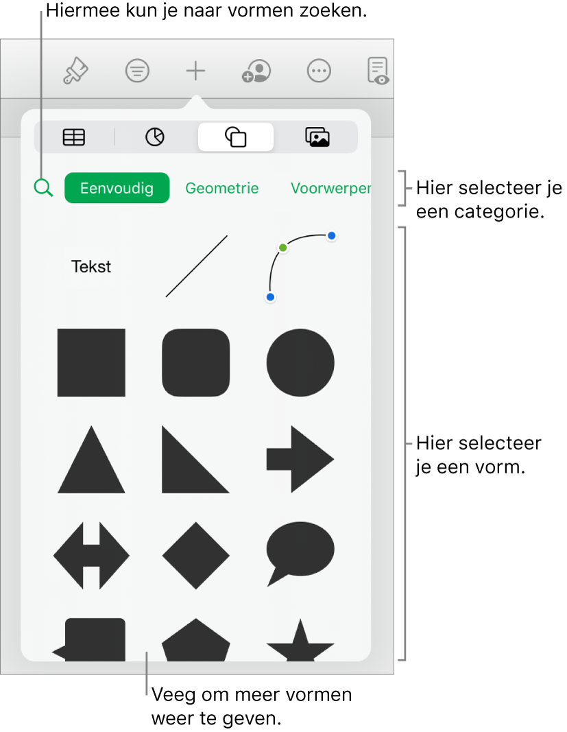 De vormenbibliotheek met bovenaan categorieën en onderaan vormen. Je kunt het zoekveld bovenaan gebruiken om vormen te zoeken. Veeg om meer opties weer te geven.
