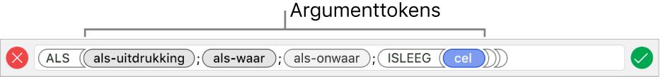 De formule-editor met een functie met argumenttokens.