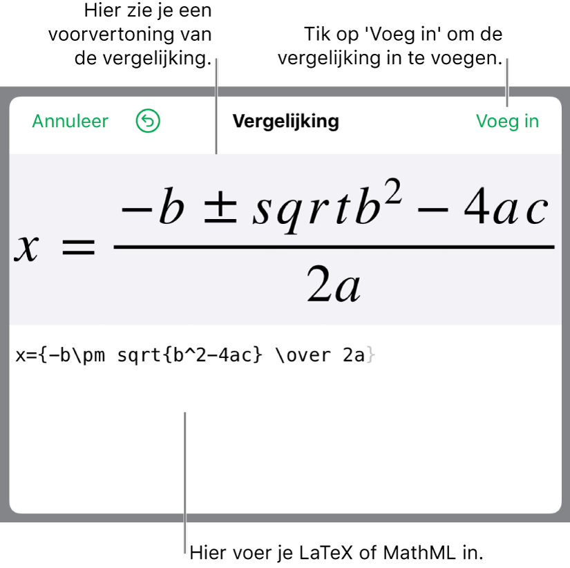 In het veld 'Vergelijking' staat een LaTeX-wortelformule, met daaronder een voorvertoning van de formule.