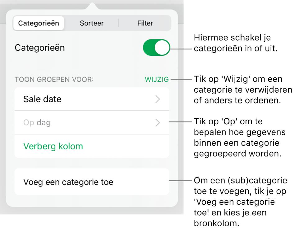 Het menu 'Categorieën' op de iPad met de volgende opties: categorieën uitschakelen, categorieën verwijderen, gegevens anders groeperen, een bronkolom verbergen en categorieën toevoegen.