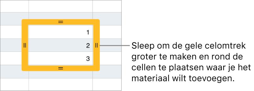 Een geselecteerde cel met een grote gele rand die je kunt slepen om cellen automatisch te vullen.