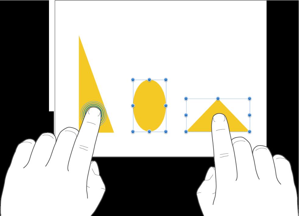 Én finger som trykker og holder på et objekt mens en annen finger trykker på et annet objekt.
