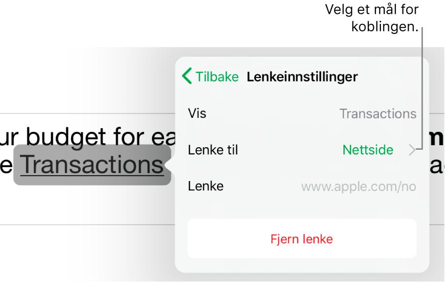 Lenkeinnstillinger-kontrollene med felter for Visning, Lenke til (stilt til Nettside) og Lenke. Fjern Lenke-knappen er nederst.