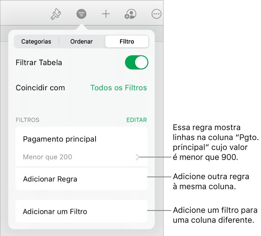 Controles para adicionar novas regras de filtragem ou editar as existentes.