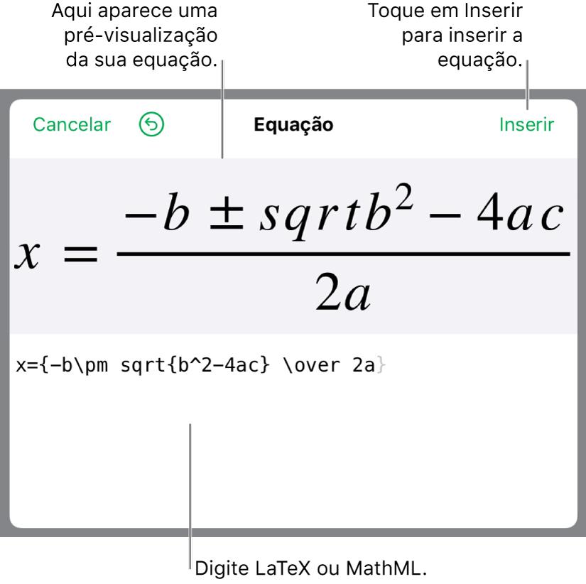 A fórmula quadrática escrita com LaTeX no campo Equação e uma pré-visualização da fórmula abaixo.