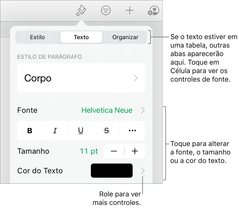Controles de texto no menu Formatar para definir estilo, fonte, tamanho e cor de caractere e parágrafo.