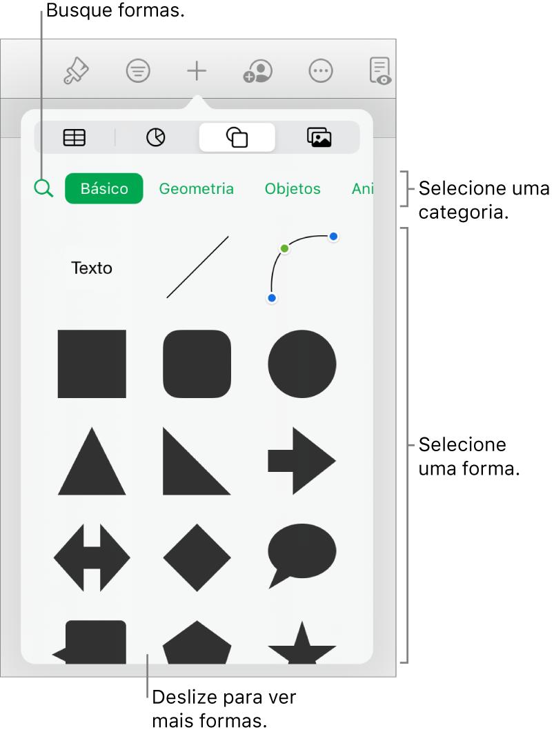 A biblioteca de formas, com categorias na parte superior e formas exibidas abaixo. Você pode utilizar o campo de pesquisa na parte superior e deslizar para ver mais.