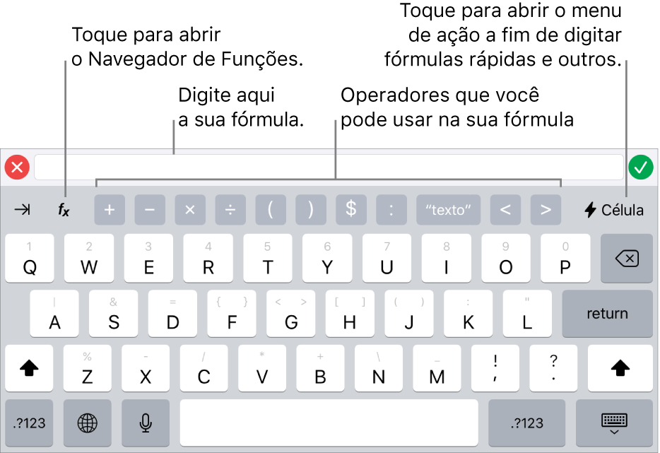 O teclado de fórmulas com o editor de fórmulas acima e os operadores utilizados nas fórmulas, abaixo. O botão Funções, para abrir o Navegador de Funções, está à esquerda dos operadores e o botão Ação do menu está à direita.