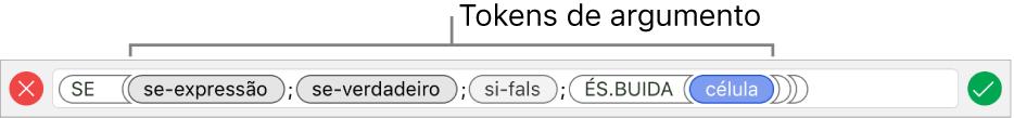 Editor de Fórmulas mostrando uma função com tokens de argumento.