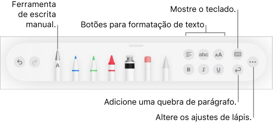 """A barra de ferramentas para escrever e desenhar com a ferramenta """"Escrever à Mão"""" à esquerda. À direita, estão os botões para formatar texto, mostrar o teclado, adicionar uma quebra de parágrafo e abrir o menu Mais."""