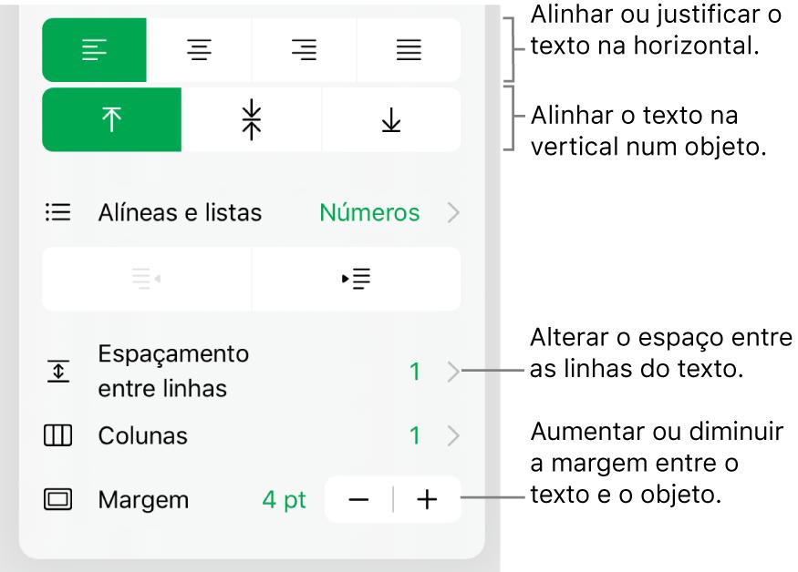A secção Disposição do inspetor de formatação com referências aos botões de alinhamento e espaçamento de texto.