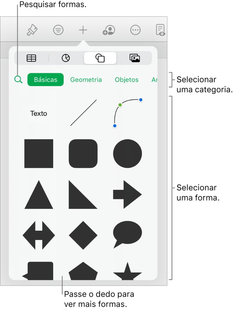 A biblioteca de formas, com as categorias exibidas na parte superior e as formas na parte inferior. É possível usar o campo de pesquisa na parte superior para encontrar formas e passar os dedos para ver mais.