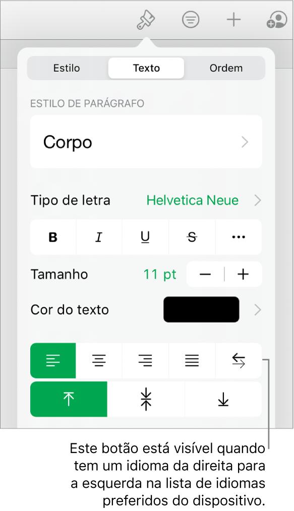 """A secção Estilo do menu Formatação com uma chamada para o botão """"Da direita para a esquerda""""."""