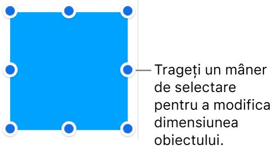 Un obiect cu puncte albastre pe bordură, pentru modificarea dimensiunii acestuia.