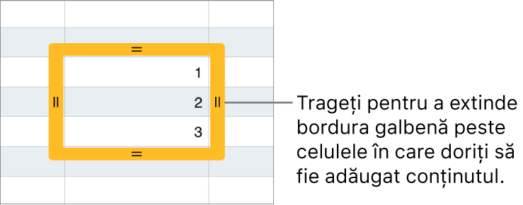 O celulă selectată cu o bordură galbenă pe care o puteți trage pentru completarea automată a celulelor.