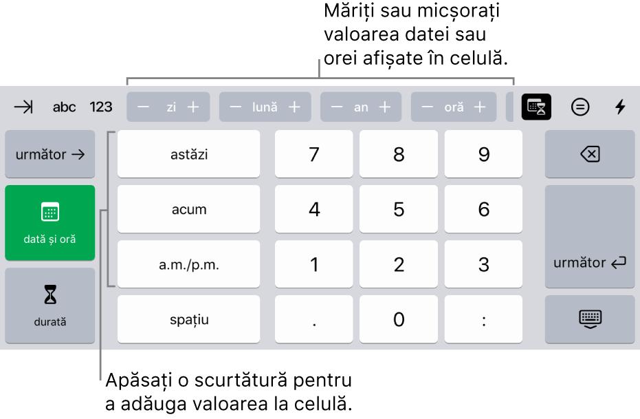 Tastatura dată și oră. Butoanele din partea de sus afișează unitățile de timp (lună, zi, an și oră) pe care le puteți incrementa pentru a schimba valoarea afișată în celulă. Pe stânga se află tastele pentru comutarea între tastatura pentru dată și oră și cea pentru durată, iar în centrul tastaturii sunt taste numerice.