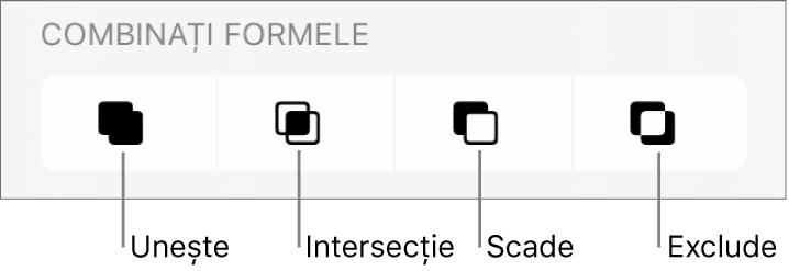 Butoanele Unește, Intersecție, Scade și Exclude de sub Combină formele .