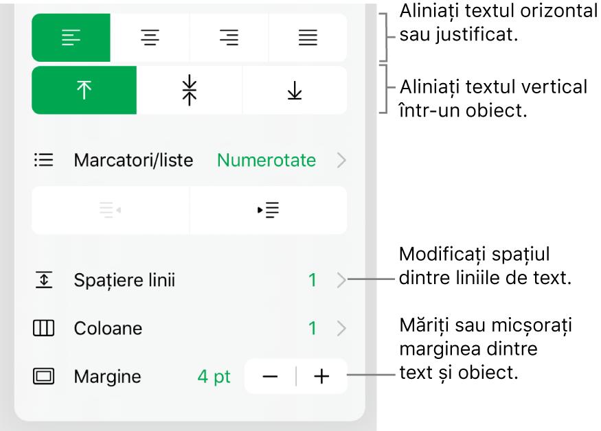 Secțiunea Aranjament a inspectorului Format cu explicații pentru butoanele de aliniere a textului și de spațiere.