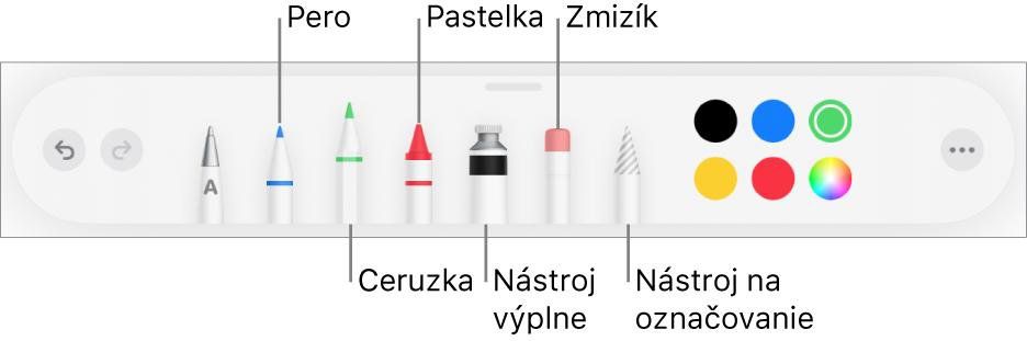 Panel snástrojmi kreslenia sperom, ceruzkou, pastelkou, výplňou, zmizíkom, nástrojom výberu afarbami. Úplne vpravo je tlačidlo menu Viac