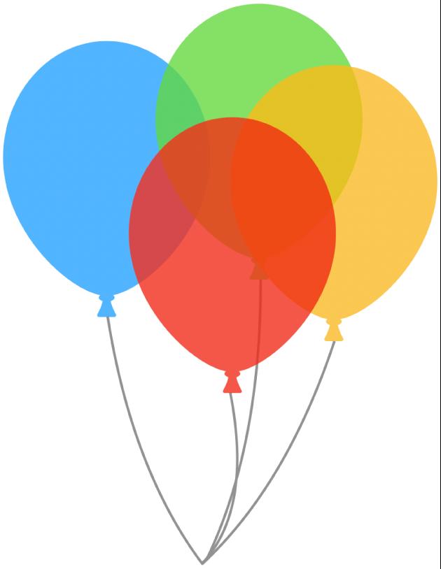 Prekrývanie priehľadných balónových tvarov. Spodný balón sa zobrazuje cez priehľadný balón navrchu.