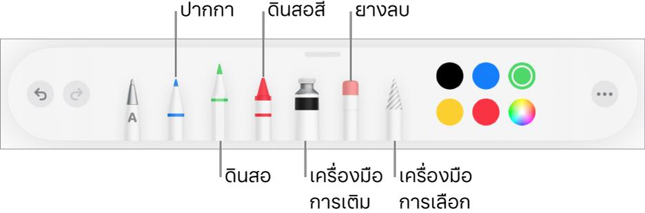 แถบเครื่องมือการวาดพร้อมปากกา ดินสอ ดินสอสี เครื่องมือการเติม ยางลบ เครื่องมือการเลือก และสี ด้านขวาสุดคือปุ่มเมนูอื่นๆ