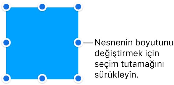 Sınırında büyüklüğünün değiştirilebilmesini sağlayan mavi noktalar olan bir nesne.