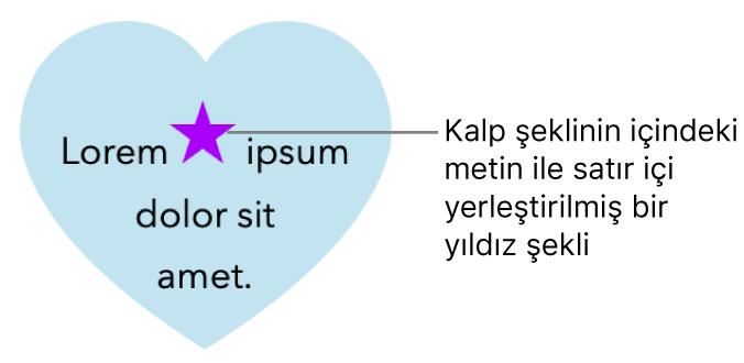 Bir kalp şeklinin içinde metinle satır içi görünen yıldız şekli.