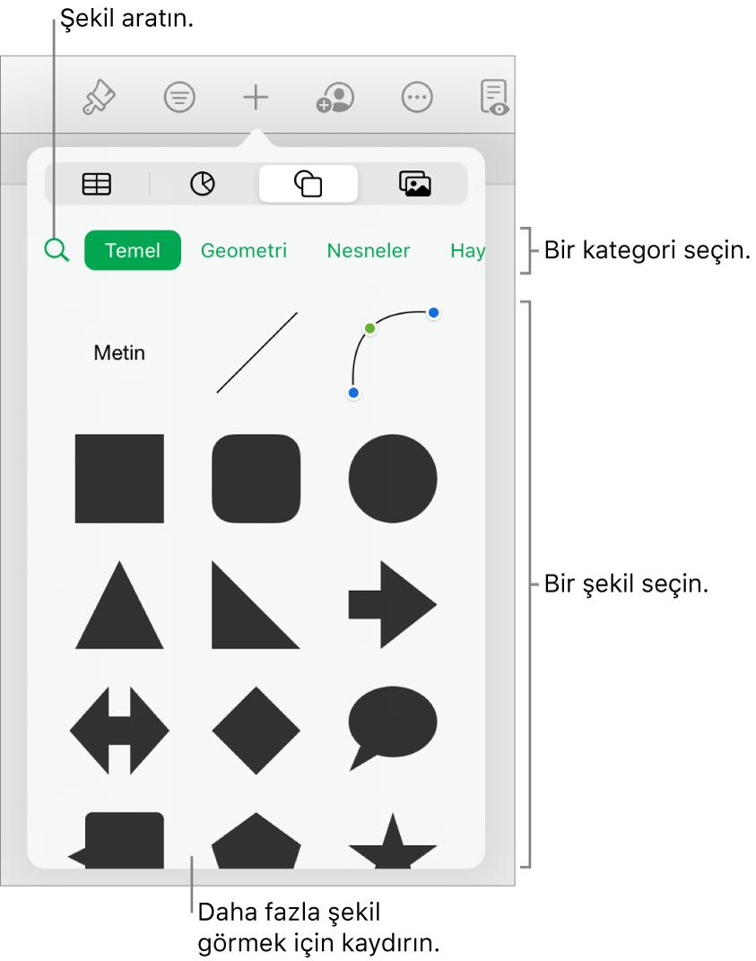 En üstte kategorilerin ve onun altında şekillerin gösterildiği şekil arşivi. Şekil bulmak için arama alanını kullanabilir ve daha fazlasını görmek için kaydırabilirsiniz.