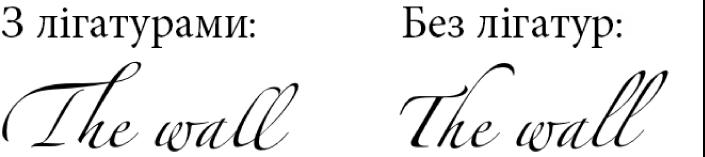 Приклади тексту з лігатурами та без них.