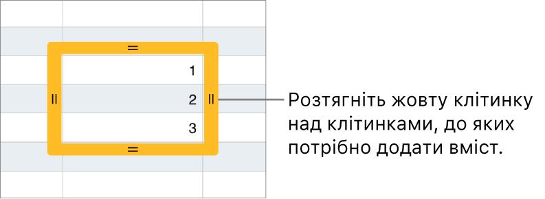 Вибрана клітинка з великою жовтою рамкою, потягнувши яку, можна автоматично заповнити інші клітинки.