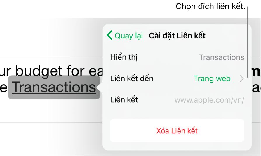 Chạm vào menu các điều khiển Cài đặt liên kết với các trường cho Hiển thị, Liên kết đến (Trang web được chọn) và Liên kết. Nút Xóa liên kết nằm ở dưới cùng.