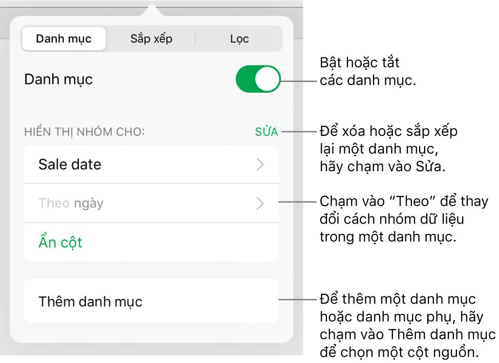 Menu Danh mục cho iPad với các tùy chọn để tắt danh mục, xóa danh mục, nhóm lại dữ liệu, ẩn cột nguồn và thêm danh mục.