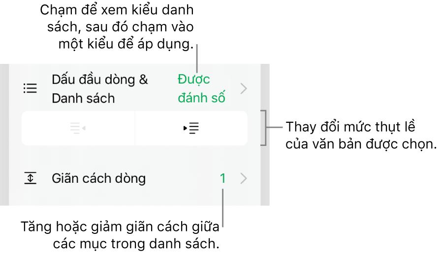Phần Dấu đầu dòng & Danh sách của điều khiển Định dạng với các chú thích đến Dấu đầu dòng & Danh sách, các nút thụt lề và nhô lề và các điều khiển giãn cách dòng.