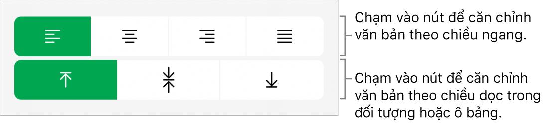 Các nút căn chỉnh theo chiều ngang và chiều dọc cho văn bản.