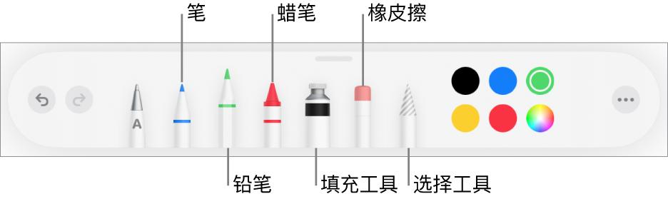 """绘图工具栏,包括笔、铅笔、蜡笔、填充工具、橡皮擦、选择工具和颜色。最右侧是""""更多""""菜单按钮"""